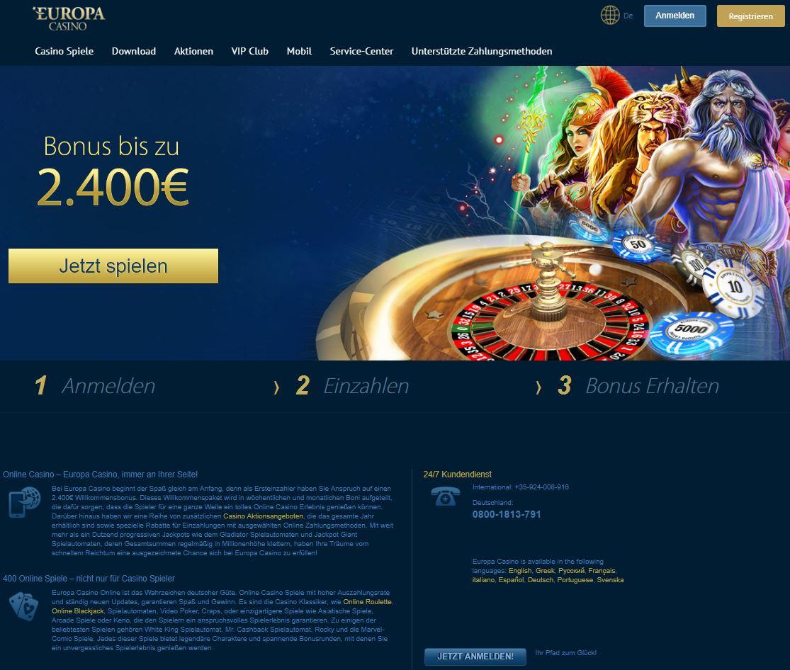 europa casino бездепозитный бонус